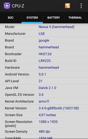 Раздел SYSTEM в приложении CPU-Z
