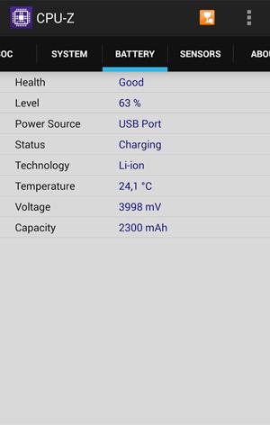 Раздел Battery в приложении CPU-Z