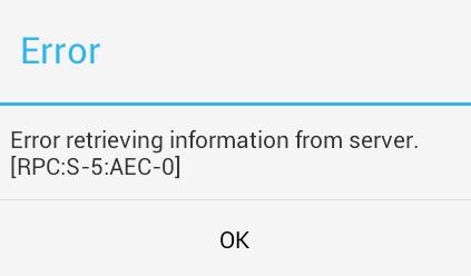 Ошибка rpc:s-5:aec-0 Google Play