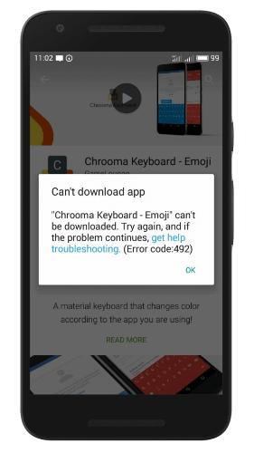 Код ошибки 492 Андроид