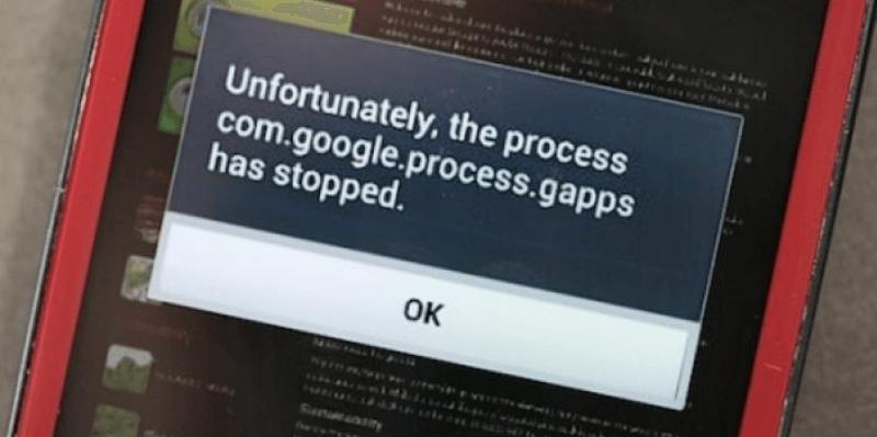 в приложении com.google.process.gapps произошла ошибка