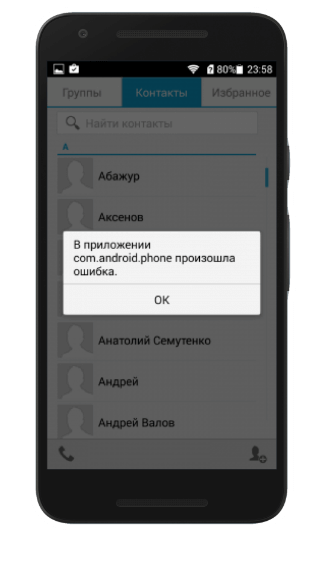 ошибка com android phone